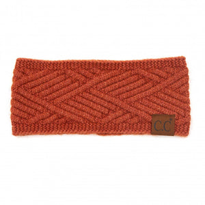 C.C Rust Mix Diagonal Stripe Criss-Cross Knit Pattern Head Wrap