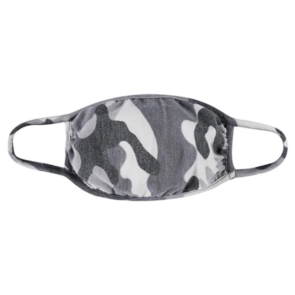 Grey Washed Out Camouflage T-Shirt Cloth Face Mask