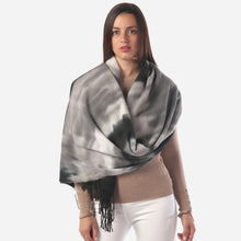 Load image into Gallery viewer, Black Grey Tie Dye Oblong Scarf Featuring Fringe Tassels
