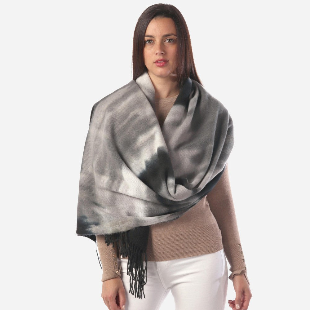 Black Grey Tie Dye Oblong Scarf Featuring Fringe Tassels