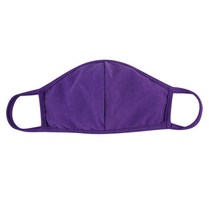 Purple Solid Color T-Shirt Cloth Face Mask with Seam