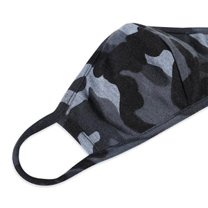 Grey Camouflage T-Shirt Cloth Face Mask with Seam