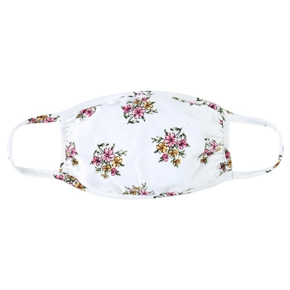Ivory Floral Print T-Shirt Cloth Face Mask