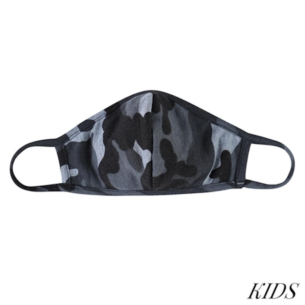 KIDS Black Camouflage T-Shirt Cloth Face Mask with Seam