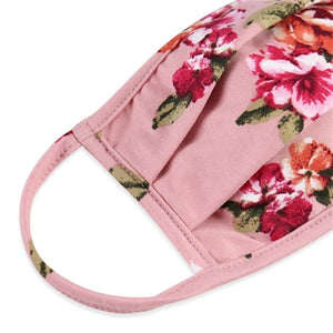 Mauve Floral Print T-Shirt Cloth Face Mask with Pleats