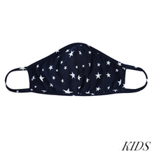 Load image into Gallery viewer, KIDS Navy Star Print T-Shirt Cloth Face Mask with Seam