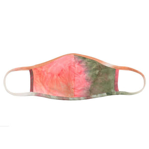 Olive Tie-Dye Reusable T-Shirt Cloth Face Mask with Seam