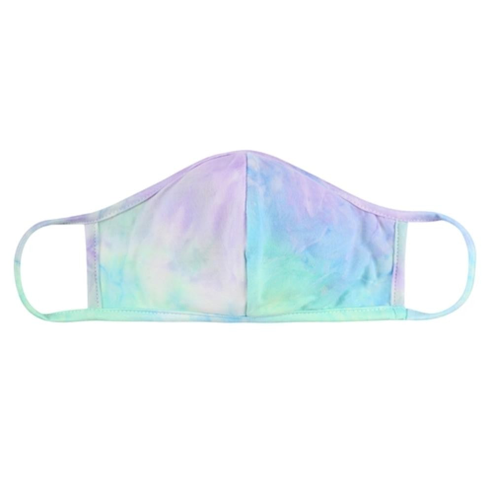 Aqua/Lime Tie-Dye Reusable T-Shirt Cloth Face Mask with Seam