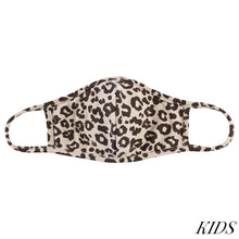 Load image into Gallery viewer, KIDS Taupe Leopard Print T-Shirt Cloth Face Mask With Seam