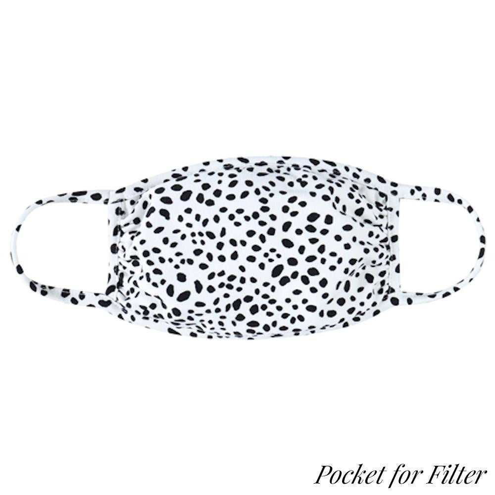 Ivory Dalmatian Print T-Shirt Cloth Face Mask with Filter Insert.