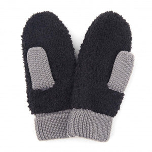 C.C Black Sherpa Yarn Knit Mitts Featuring Grey Knit Trim.