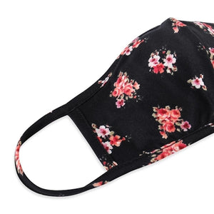 Black Floral Print T-Shirt Cloth Face Mask with Seam & Filter Insert