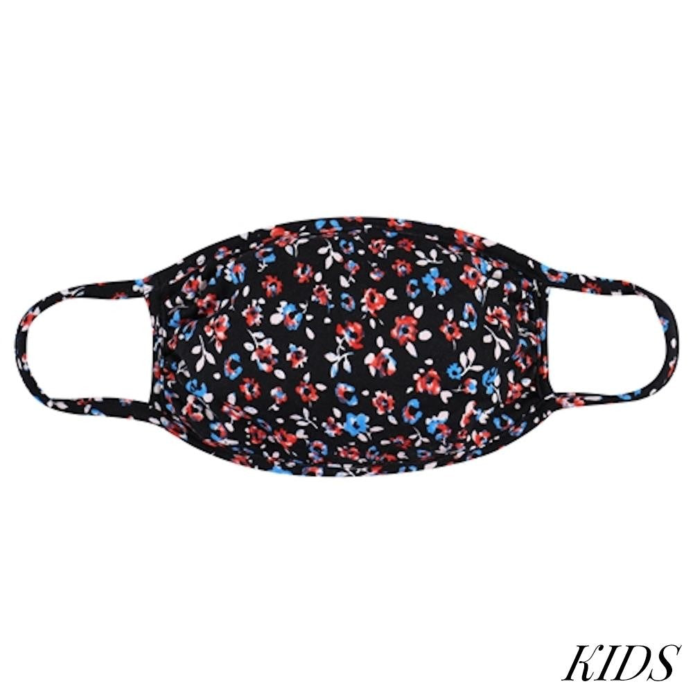 KIDS Red, White & Blue Floral T-Shirt Cloth Face Mask