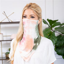 Load image into Gallery viewer, Olive/Coral Tie-Dye Face Shield Mask with Ear Loops