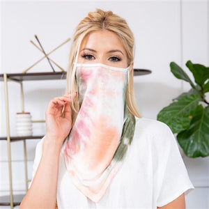 Olive/Coral Tie-Dye Face Shield Mask with Ear Loops