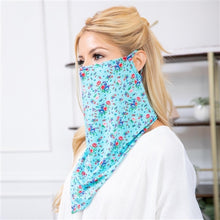 Load image into Gallery viewer, Blue Floral Print Face Shield Mask with Ear Loop