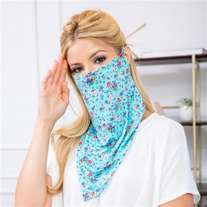 Blue Floral Print Face Shield Mask with Ear Loop