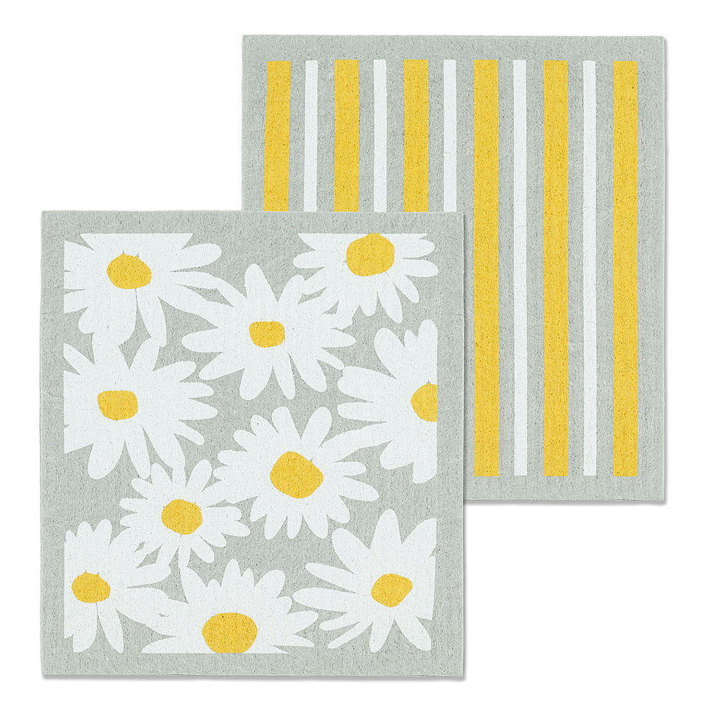 Daisies & Stripes Dishcloths. Set of 2