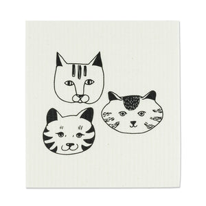 Simple Cat Faces Dishcloths. Set of 2