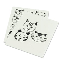 Load image into Gallery viewer, Simple Cat Faces Dishcloths. Set of 2