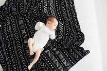 Load image into Gallery viewer, Black Mudcloth Muslin Swaddle