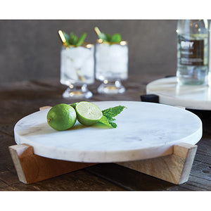 MARBLE TRAY + MANGO WOOD STAND - NATURAL