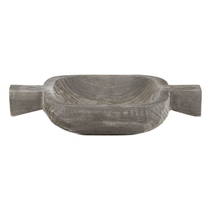 PAULOWNIA WOOD DOUBLE HANDLE TRAY - CHARCOAL
