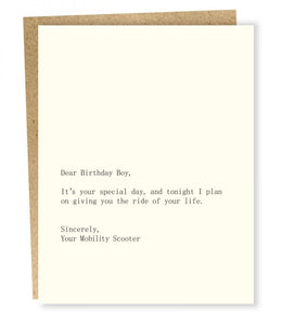 DEAR BIRTHDAY BOY/SCOOTER CARD