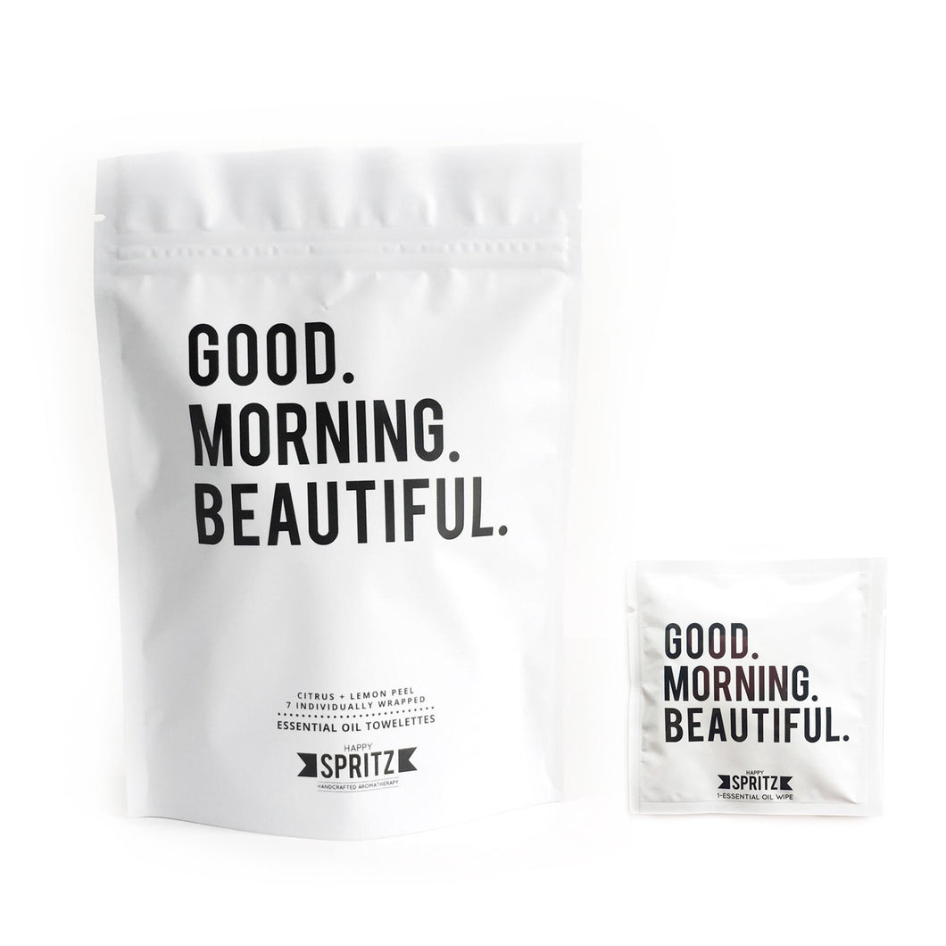 Happy Spritz - Good Morning Beautiful Essential Oil Towelette 7 Day Bag