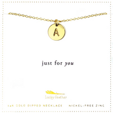 Load image into Gallery viewer, Letter Disc Necklace - Gold - A