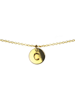 Load image into Gallery viewer, Letter Disc Necklace - Gold - C