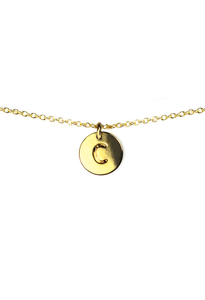 Letter Disc Necklace - Gold - C
