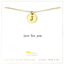Load image into Gallery viewer, Letter Disc Necklace - Gold - J