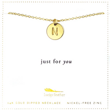 Load image into Gallery viewer, Letter Disc Necklace - Gold - N