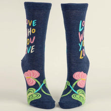 Load image into Gallery viewer, LOVE WHO YOU LOVE. - WOMEN CREW SOCKS