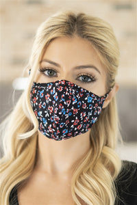Black Floral T-Shirt Cloth Face Mask with Seam