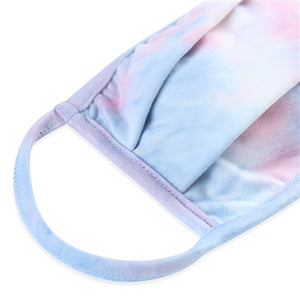 Pink Denim Tie-Dye Pleated T-Shirt Cloth Face Mask