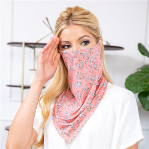 Peach Floral Print Face Shield Mask with Ear Loop