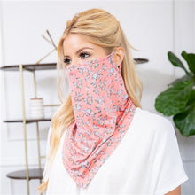 Load image into Gallery viewer, Peach Floral Print Face Shield Mask with Ear Loop