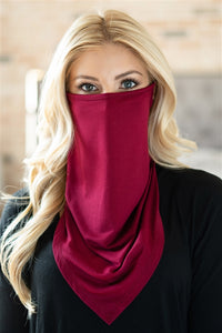 Burgundy Face Shield Mask with Ear Loop