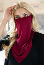 Load image into Gallery viewer, Burgundy Face Shield Mask with Ear Loop