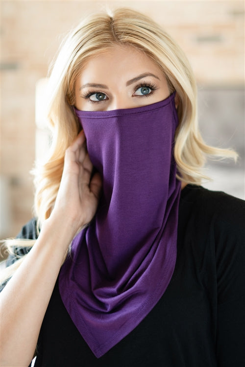 Eggplant Face Shield Mask with Ear Loop