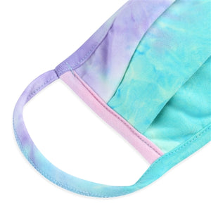 KIDS Pink/Mint/Lilac Tie-Dye Pleated T-Shirt Cloth Face Mask