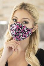 Load image into Gallery viewer, Black Floral Print T-Shirt Cloth Face Mask with Seam & Filter Insert