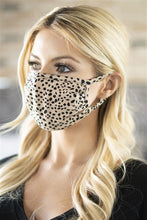Load image into Gallery viewer, Khaki Dalmatian Print T-Shirt Cloth Face Mask with Filter Insert.