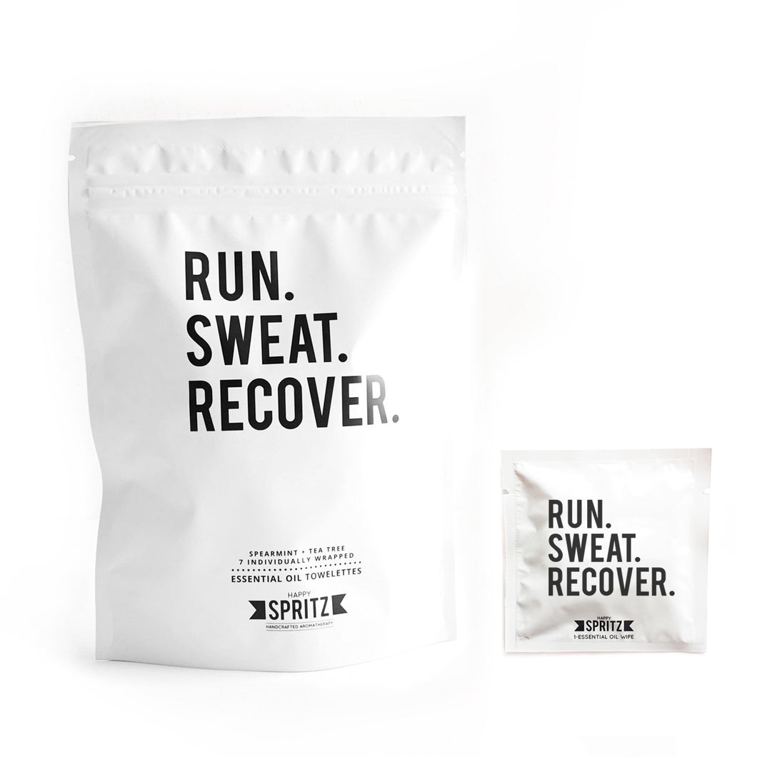 Happy Spritz - Run Sweat Recover Essential Oil Towelette 7 Day Bag