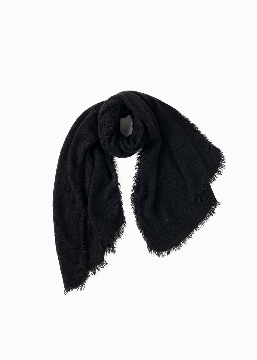 BLACK VINTAGE RAW ROUGH FRINGE SCARF