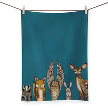 Load image into Gallery viewer, Green Box Art Forest Animals Tea Towel