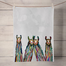 Load image into Gallery viewer, Green Box Art Four Lively Llamas Tea Towel