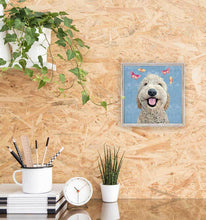 Load image into Gallery viewer, Green Box Art Happy Dog - Light Blue Mini Framed Canvas